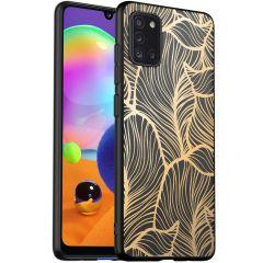iMoshion Design Hülle Samsung Galaxy A31 - Blätter - Gold / Schwarz