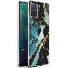 iMoshion Design Hülle Samsung Galaxy A71 - Marmor - Blau