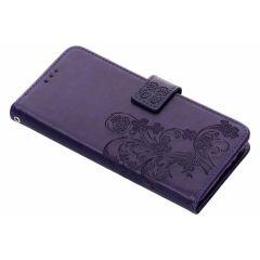 Kleeblumen Booktype Hülle Violett für Samsung Galaxy J6 Plus