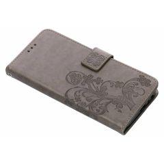 Kleeblumen Booktype Hülle Grau für Samsung Galaxy J6 Plus