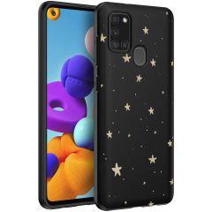 iMoshion Design Hülle Samsung Galaxy A21s - Sterne - Schwarz / Gold