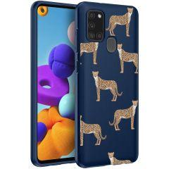 iMoshion Design Hülle Samsung Galaxy A21s - Leopard - Blau