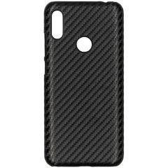 Carbon Look Hardcase-Hülle Schwarz für das Huawei Y6 (2019)