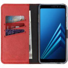 Selencia Echtleder Booktype Hülle Rot für Samsung Galaxy A8 (2018)