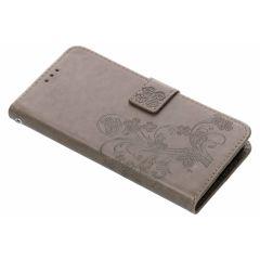 Kleeblumen Booktype Hülle Grau für Motorola Moto G6