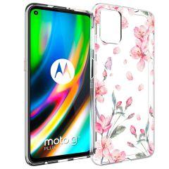 iMoshion Design Hülle Motorola Moto G9 Plus - Blume - Rosa