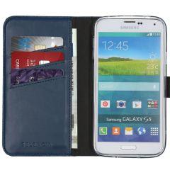 Selencia Echtleder Booktype Hülle Blau für Galaxy S5 (Plus) / Neo