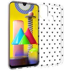iMoshion Design Hülle Samsung Galaxy M31 - Herzen - Schwarz