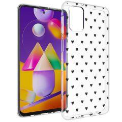 iMoshion Design Hülle Samsung Galaxy M31s - Herzen - Schwarz