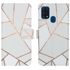 iMoshion Design TPU Booktype Hülle Samsung Galaxy M31 - White Graphic