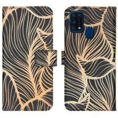 iMoshion Design TPU Booktype Hülle Samsung Galaxy M31- Golden Leaves