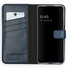 Selencia Echtleder Booktype Hülle Samsung Galaxy A12 - Blau