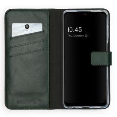 Selencia Echtleder Booktype Hülle Samsung Galaxy A12 - Grün