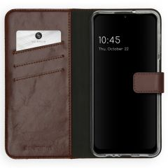 Selencia Echtleder Booktype Hülle Samsung Galaxy A12 - Braun
