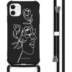 iMoshion Design Hülle mit Band iPhone 11 - Abstraktes Gesicht Blume