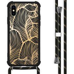 iMoshion Design Hülle mit Band iPhone X / Xs - Blätter - Gold