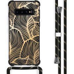 iMoshion Design Hülle mit Band Samsung Galaxy S10 - Blätter - Gold