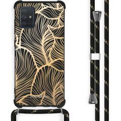 iMoshion Design Hülle mit Band Samsung Galaxy A71 - Blätter - Gold