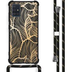 iMoshion Design Hülle mit Band Samsung Galaxy A51 - Blätter - Gold