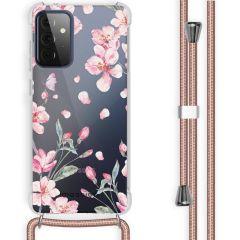 iMoshion Design Hülle mit Band Samsung Galaxy A72 - Blume - Rosa