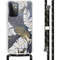 iMoshion Design Hülle mit Band Galaxy A72 - Blätter - Schwarz / Gold