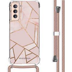 iMoshion Design Hülle mit Band Galaxy S21 - Grafik-Kupfer - Rosa