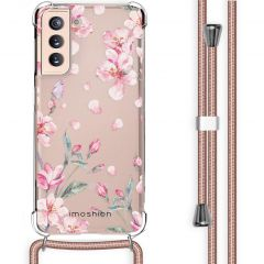 iMoshion Design Hülle mit Band Samsung Galaxy S21 - Blume - Rosa