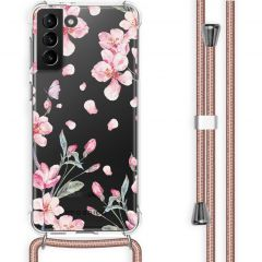 iMoshion Design Hülle mit Band Galaxy S21 Plus - Blume - Rosa