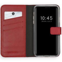 Selencia Echtleder Booktype Hülle Rot für das iPhone Xs