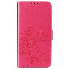 Kleeblumen Booktype Hülle Xiaomi Redmi Note 9 - Fuchsia