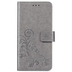 Kleeblumen Booktype Hülle Xiaomi Redmi Note 9 - Grau