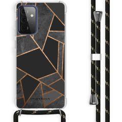 iMoshion Design Hülle mit Band Galaxy A72 - Grafik-Kupfer - Schwarz