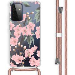 iMoshion Design Hülle mit Band Galaxy A72 - Blume - Rosa / Grün