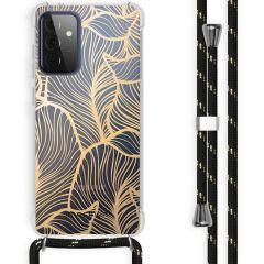 iMoshion Design Hülle mit Band Galaxy A72 - Blätter - Gold