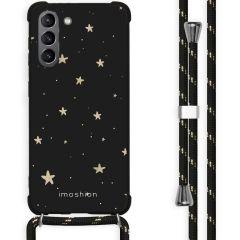 iMoshion Design Hülle mit Band Galaxy S21 - Sterne - Schwarz / Gold
