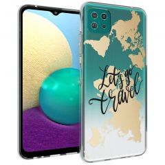 iMoshion Design Hülle Galaxy A22 (5G) - Let's Go Travel -Schwarz/Gold