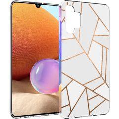 iMoshion Design Hülle Galaxy A32 (4G) - Grafik-Kupfer - Weiß / Gold