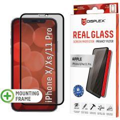 Displex Displayschutz aus gehärtetem Glas Privacy für das iPhone 11 Pro / Xs / X - Schwarz