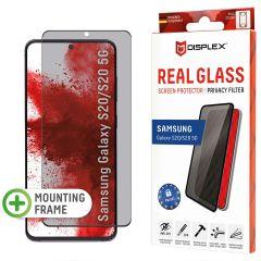 Displex Displayschutz aus gehärtetem Glas Privacy für das Samsung Galaxy S20 - Schwarz
