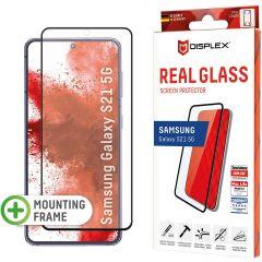 Displex Bildschirmschutzfolie Real Glass Full Cover Fingerprint Sensor für das Samsung Galaxy S21 - Schwarz