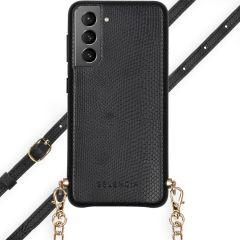 Selencia Hülle aus Schlangenleder mit Band Galaxy S21 Plus - Schwarz