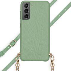 Selencia Hülle aus Schlangenleder mit Band Galaxy S21 Plus - Grün