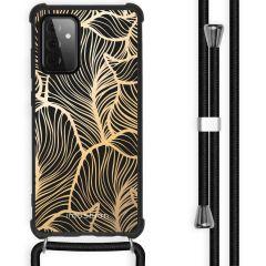 iMoshion Design Hülle mit Band Galaxy A72 - Blätter - Gold / Schwarz