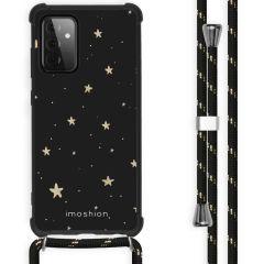 iMoshion Design Hülle mit Band Galaxy A72 - Sterne - Schwarz / Gold