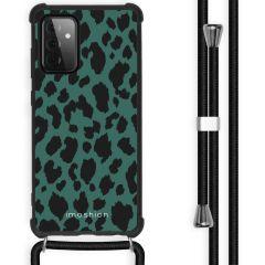 iMoshion Design Hülle mit Band Galaxy A72 - Leopard - Grün / Schwarz