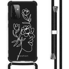 iMoshion Design Hülle mit Band Galaxy A72 - Abstraktes Gesicht Blume