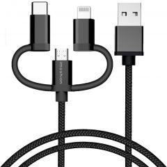 iMoshion Braided 3in1 Kabel - 1,5 Meter -Micro-USB, USB-C & Lightning