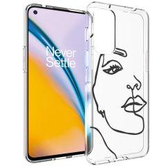 iMoshion Design Hülle OnePlus Nord 2 - Abstraktes Gesicht - Schwarz