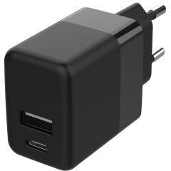 Accezz USB-C & USB-A-Wand-Ladegerät + Power Delivery - 20W - Schwarz