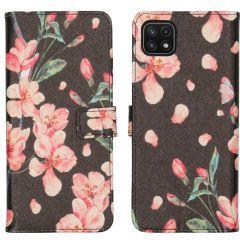 iMoshion Design TPU Booktype Hülle Galaxy A22 (5G) - Blossom Black